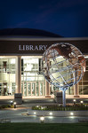 SCC Library & Armillary at night.